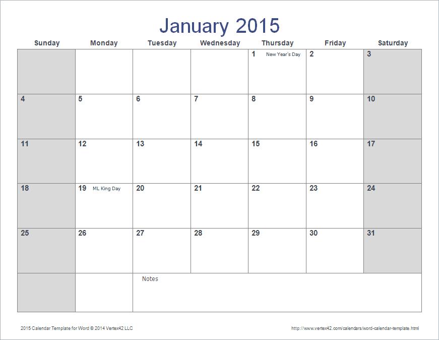 create calendars in word