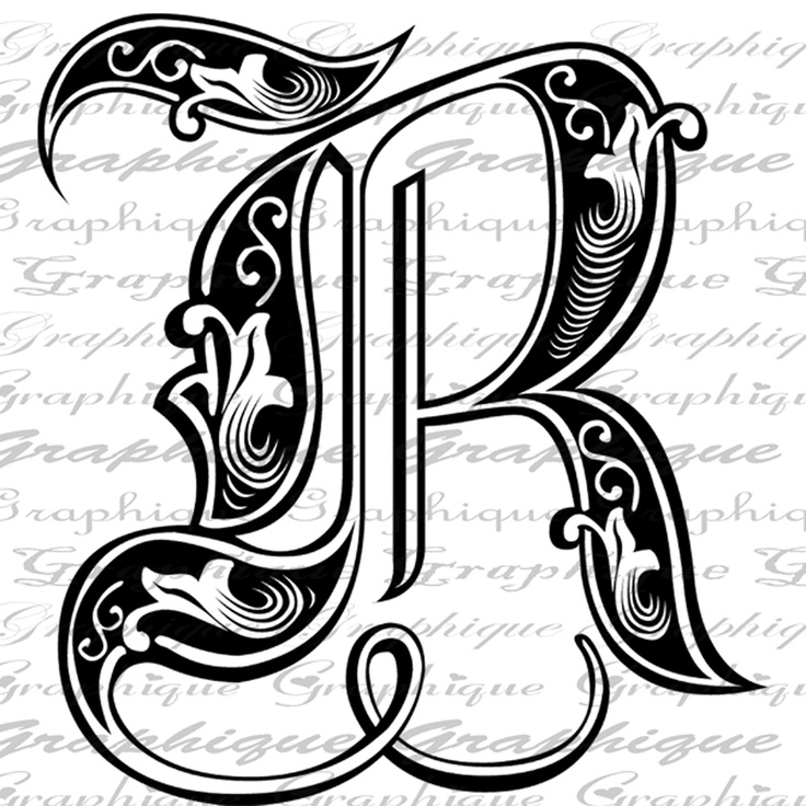 Initial Monogram Letter R Old-Style Type Text Engraving