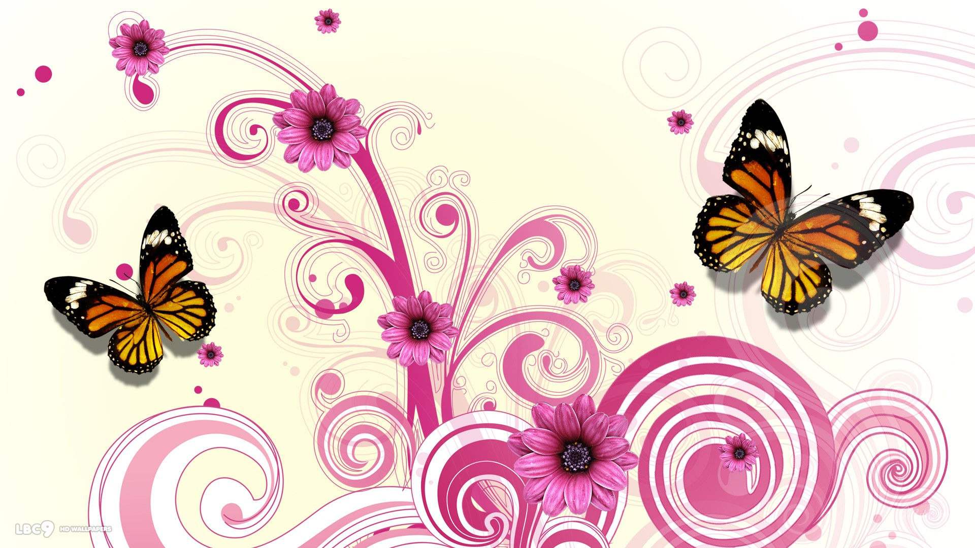 Pink Butterfly and Flower Vector