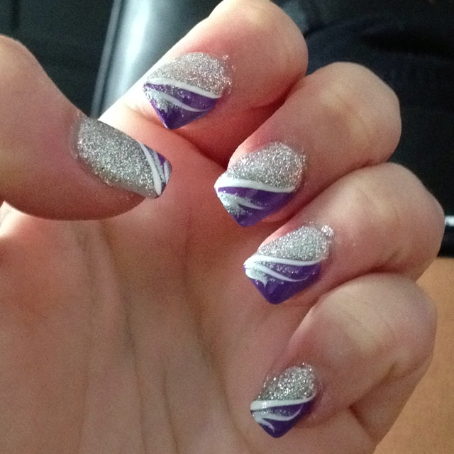 16 Purple And Silver Nail Designs Images Purple Glitter Acrylic