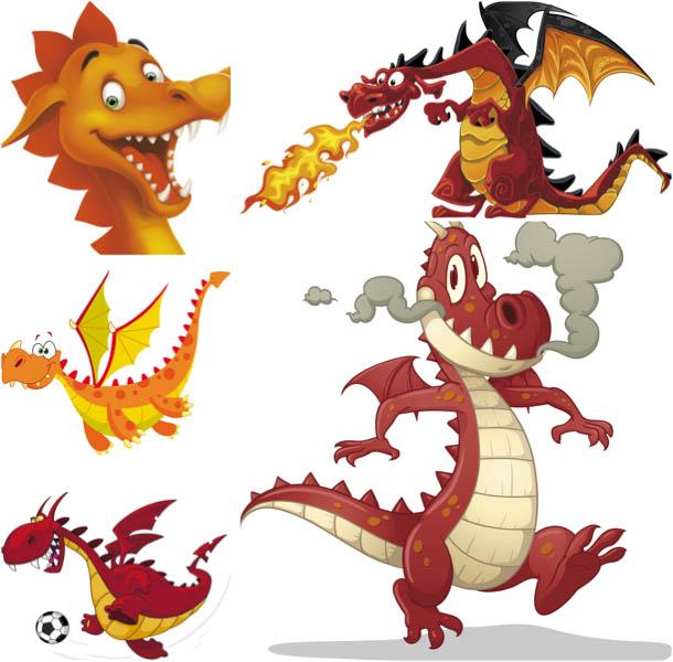 Red Dragon Cartoon Vector