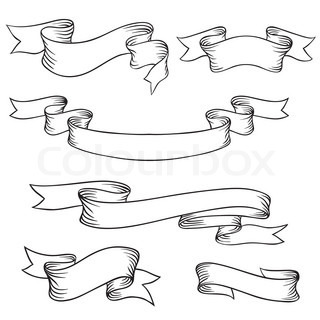 Ribbon Banner Outline Vector