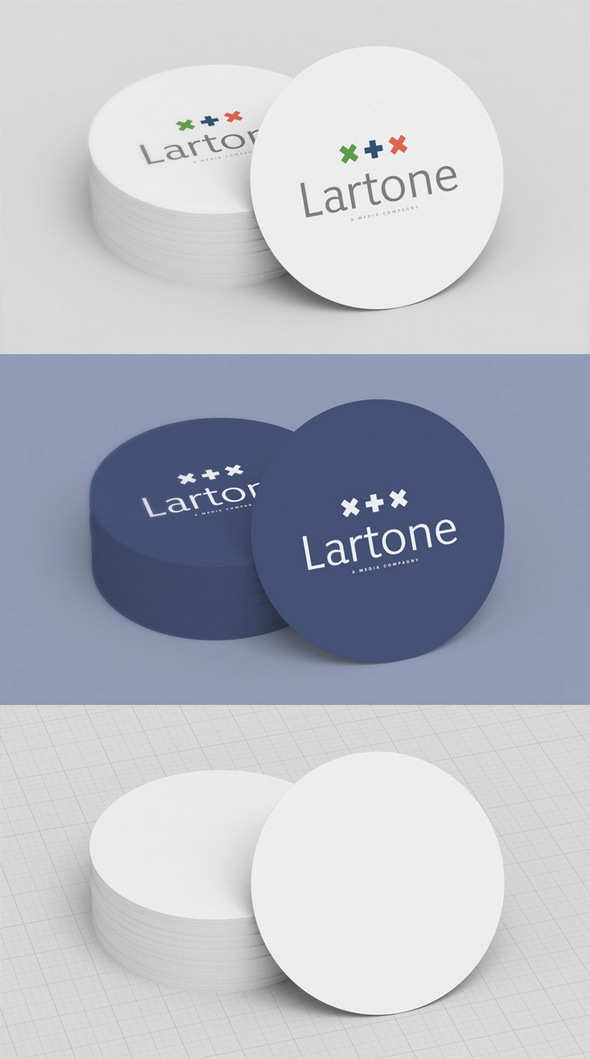 Round Business Card Mockup Free