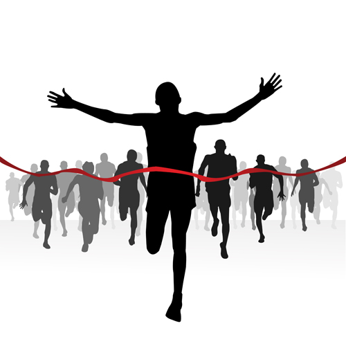 12 Runner Finish Line Silhouette Vector Images