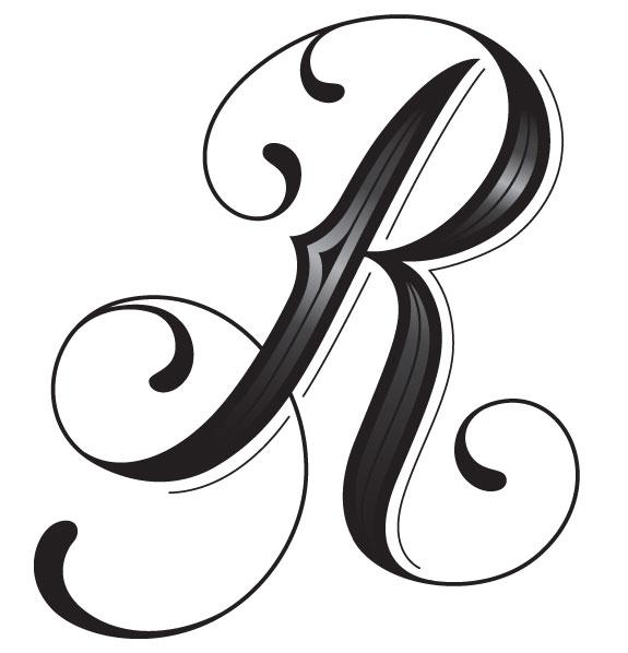 Tattoo Font Letter R