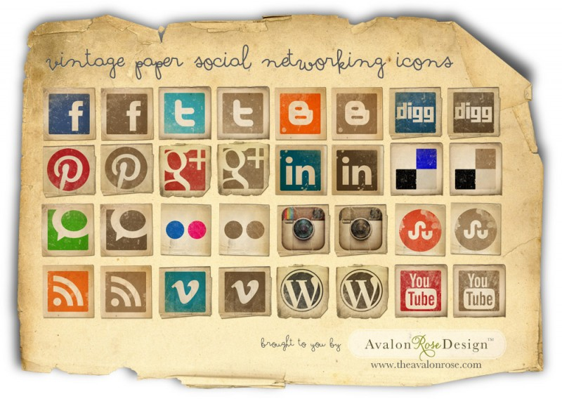 8 Vintage Social Media Icons Images