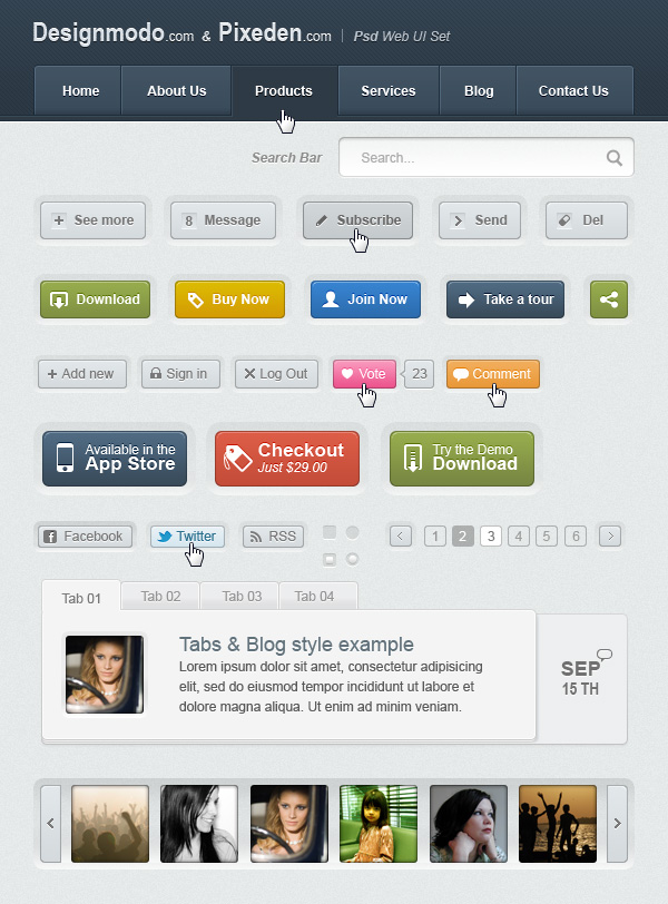 Web UI Elements PSD