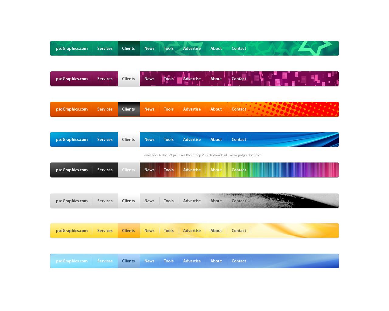 Website Menu Graphics