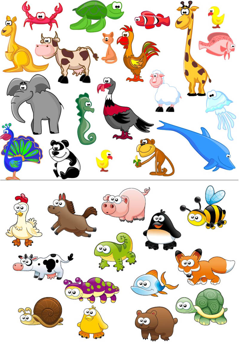15 Cartoon Animals Vector Images