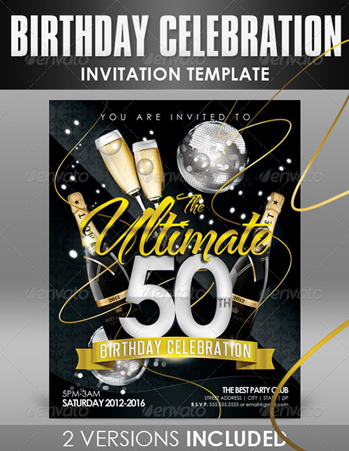 15 50th Invitation Template PSD Images