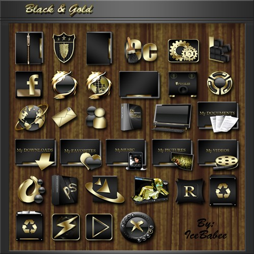 Black and Gold Icons