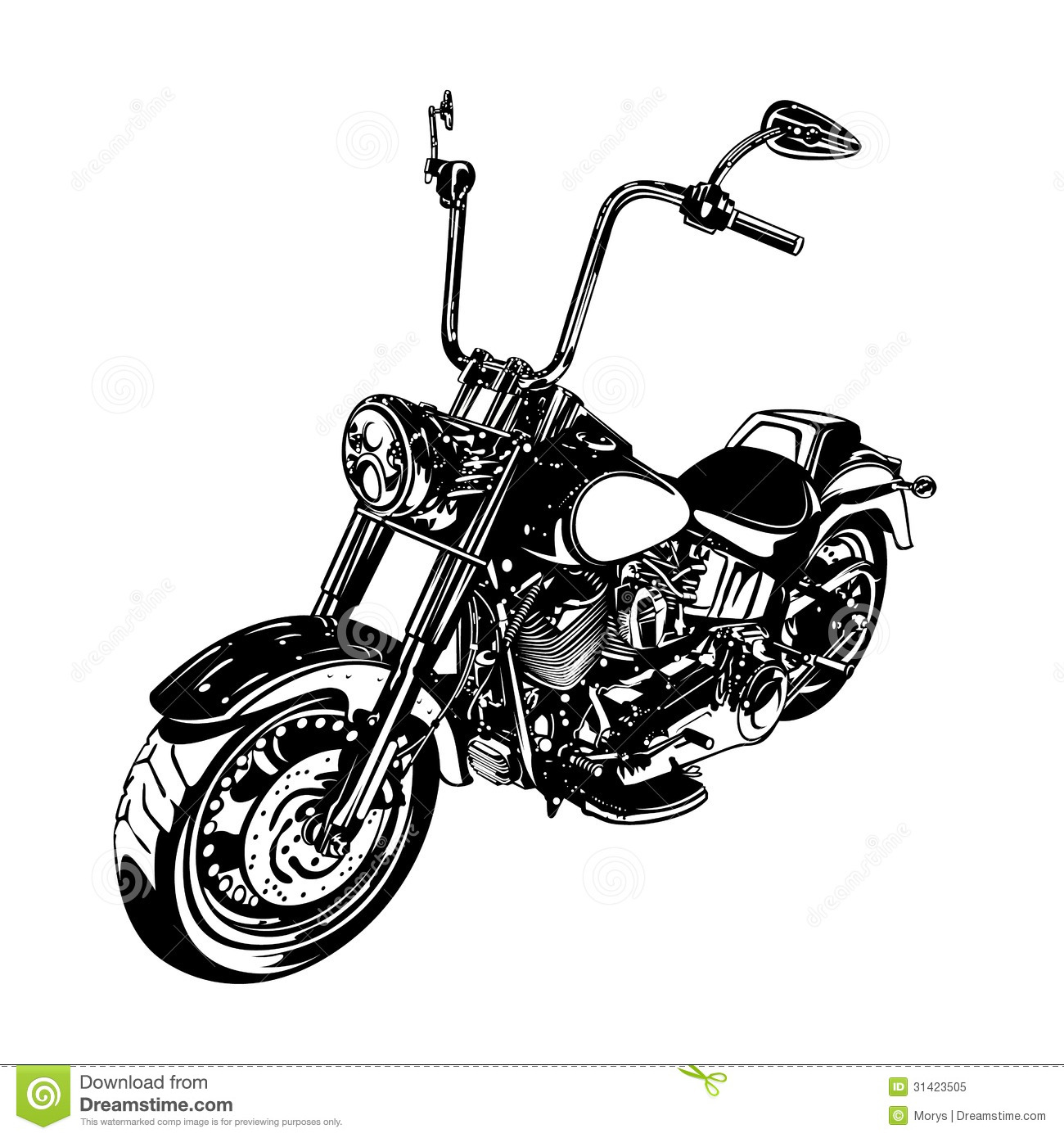 Black and White Chopper Motorcycle Art