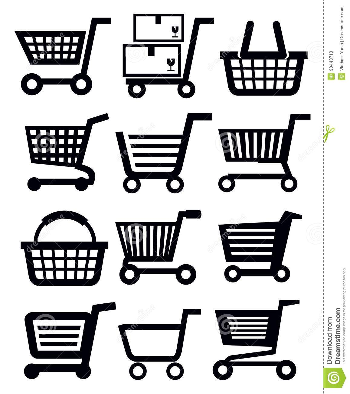 Black and White Shopping Cart Icon