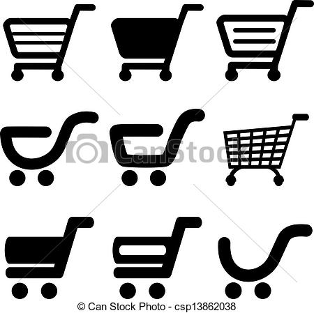 Black Shopping Cart Vector