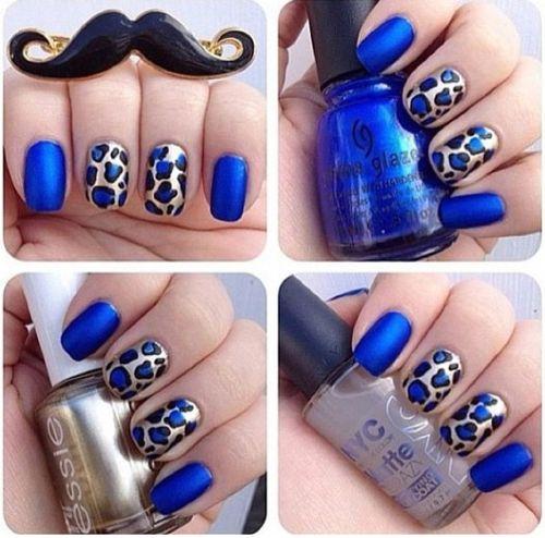 Blue and Gold Cheetah Print Nails