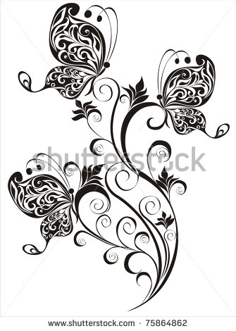 Butterfly Floral Design Tattoo