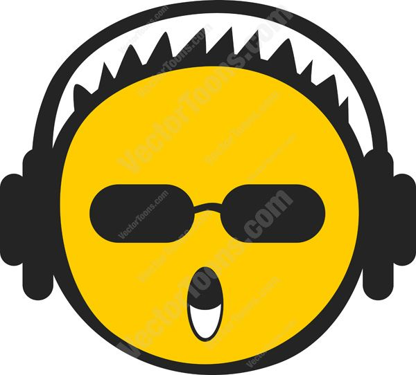 Emoji Smiley with Headphones