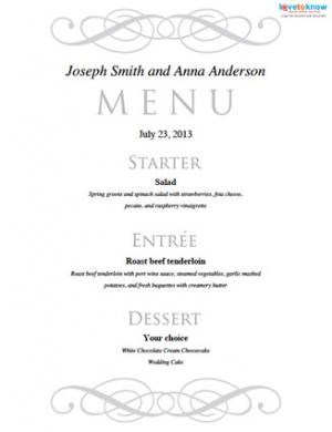 Lovely Free Printable Wedding Menu Templates To Dinner Menu Templates Free