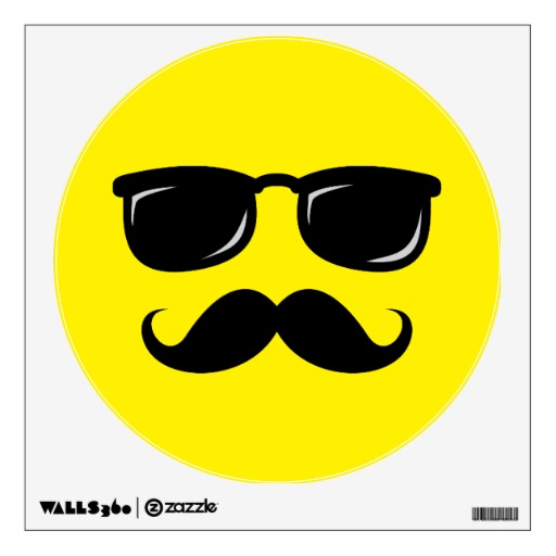 Funny Smiley Faces with Mustaches