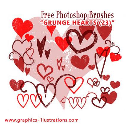 Grunge Heart Photoshop Brushes