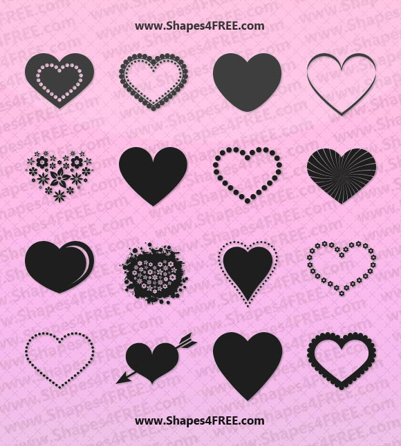 Heart Shape Photoshop Brushes