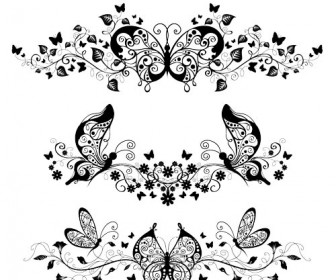 12 Butterflies Ornaments Vector Images