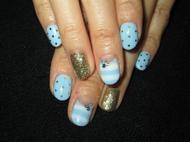 Light Blue and Gold Nail Designs