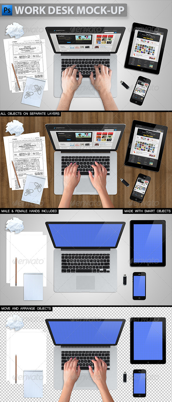 14 Desk Objects PSD Mock UPS Images