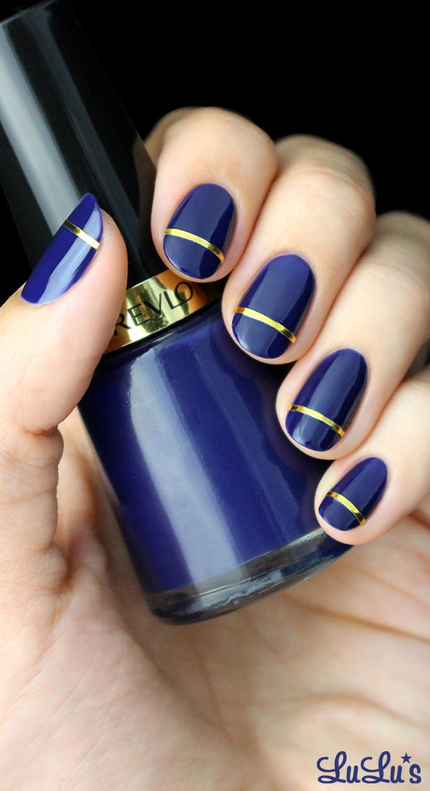 Navy Blue and Gold Nail Designs