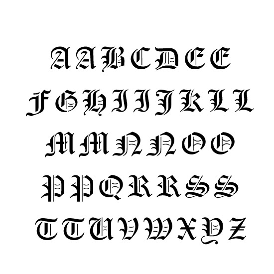 Old English Alphabet Stencil
