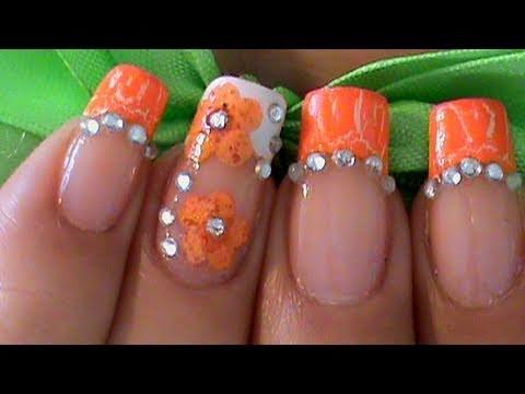 Orange Nail Art Design Flowers