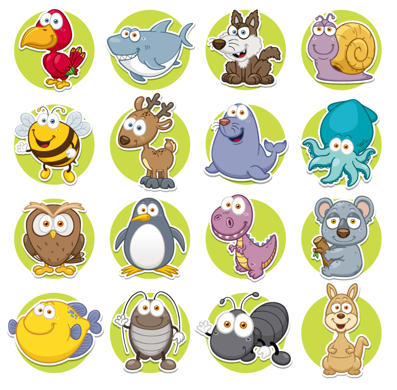 Round Cartoon Animals