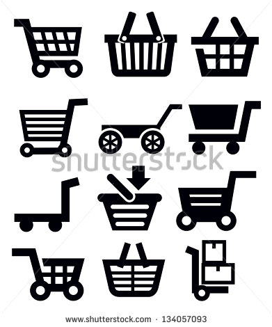 13 Shopping Cart Icon Vector Black Images