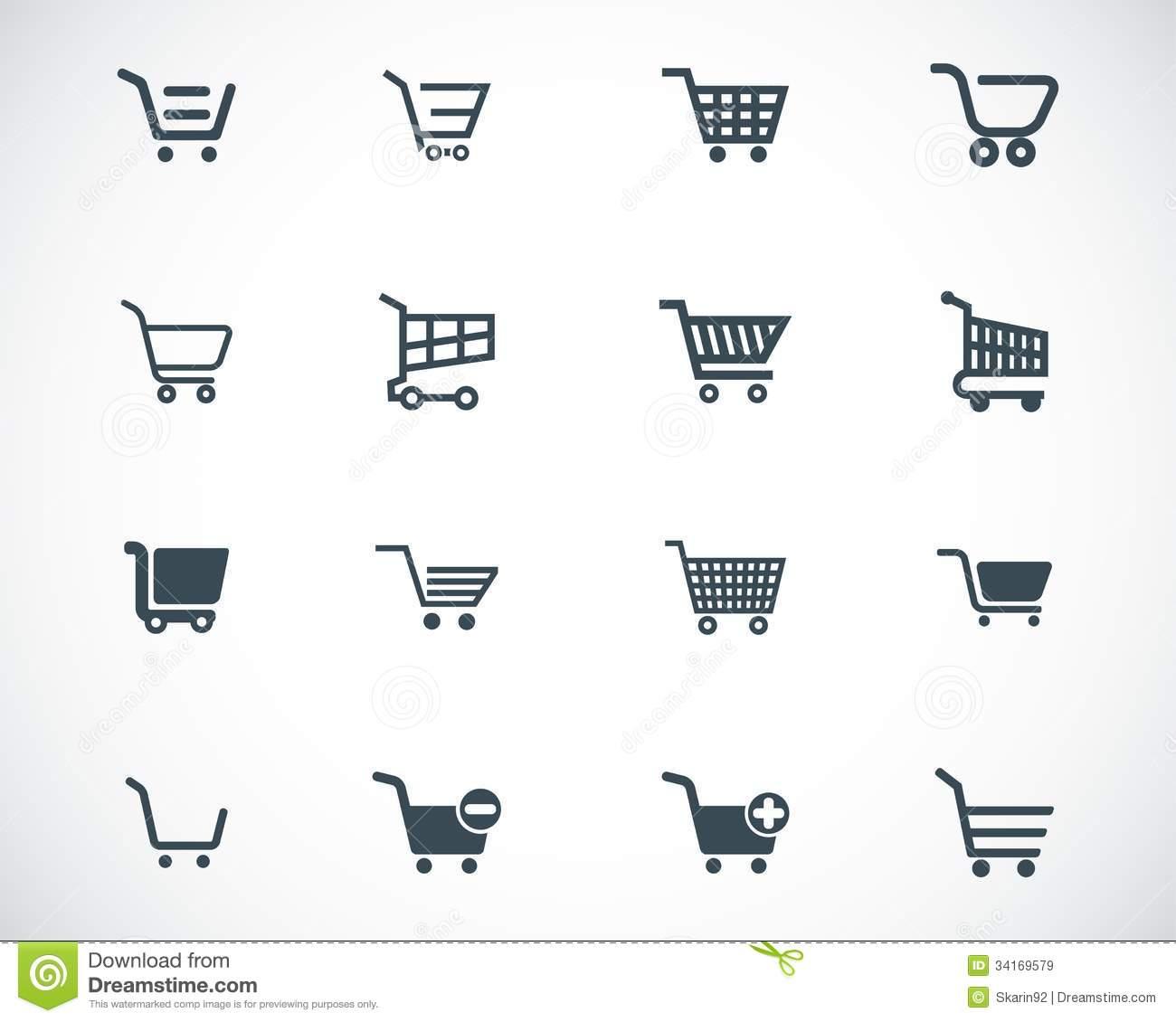 Shopping Cart Vector Icons Black