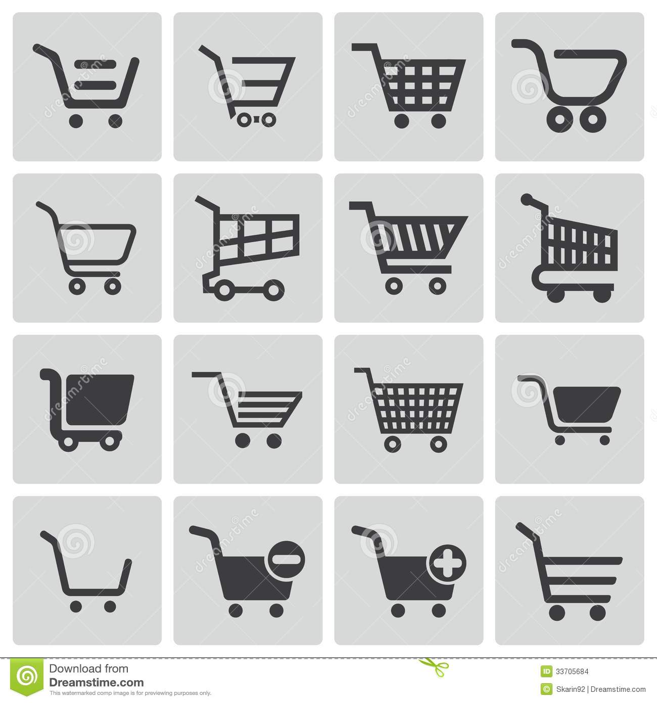 Shopping Cart Vector Icons Black