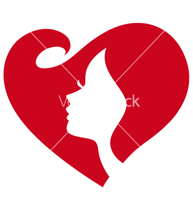 Silhouette Woman with Red Heart