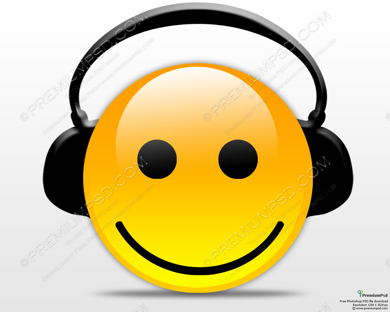 Smiley Face with Headphones Clip Art