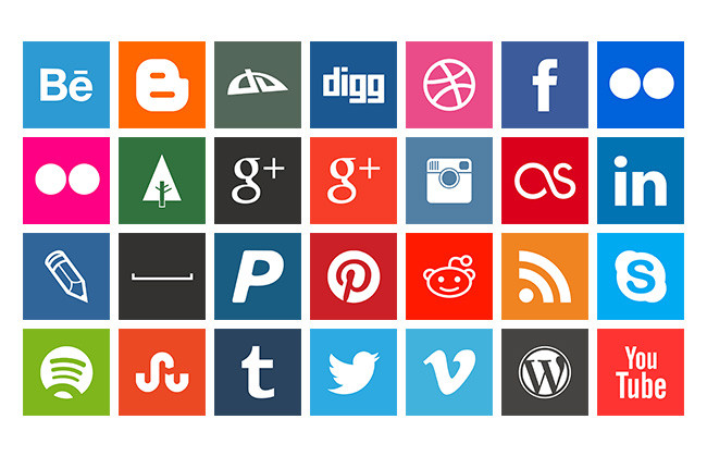 16 Social Media Icons Square Images