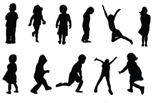 19 Free Silhouette Vector People Teenagers Images