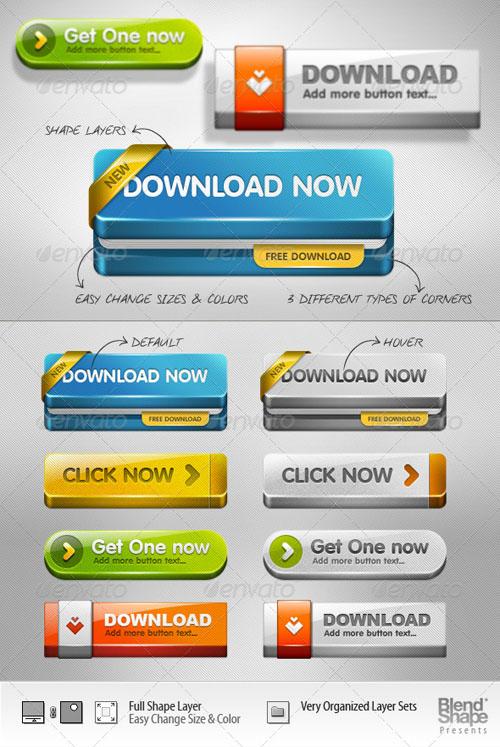 11 3D Web Buttons PSD Images