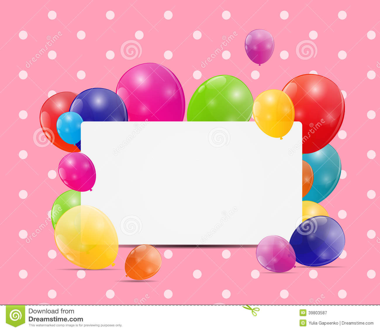 Balloons Birthday Card Vector