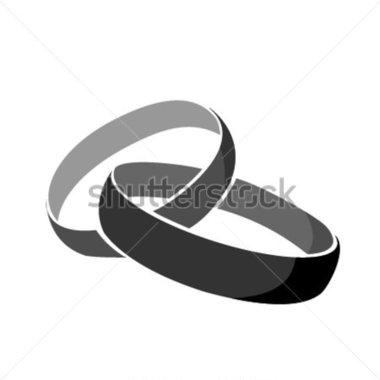 Black Wedding Rings Vector Art