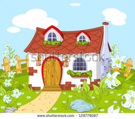 Cartoon House with Garden Clip Art