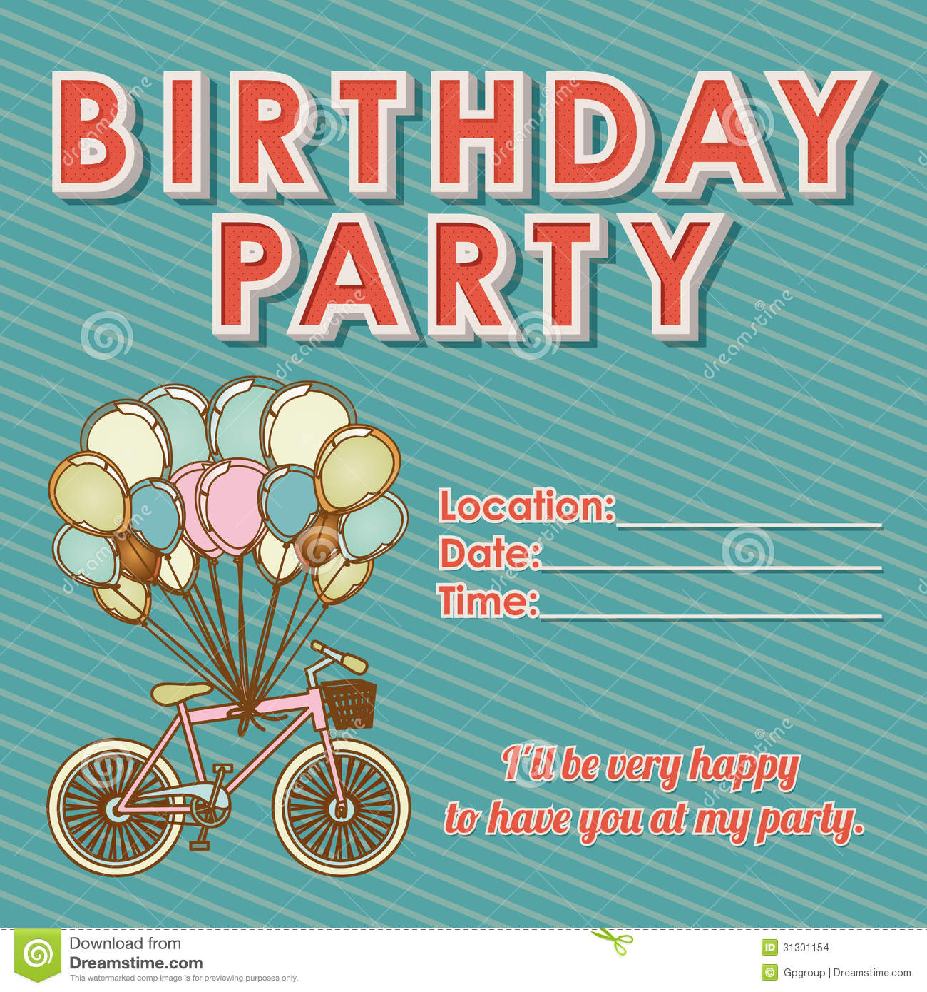 12 birthday invitation vector images happy birthday party childs birthday invitation stopboris Choice Image