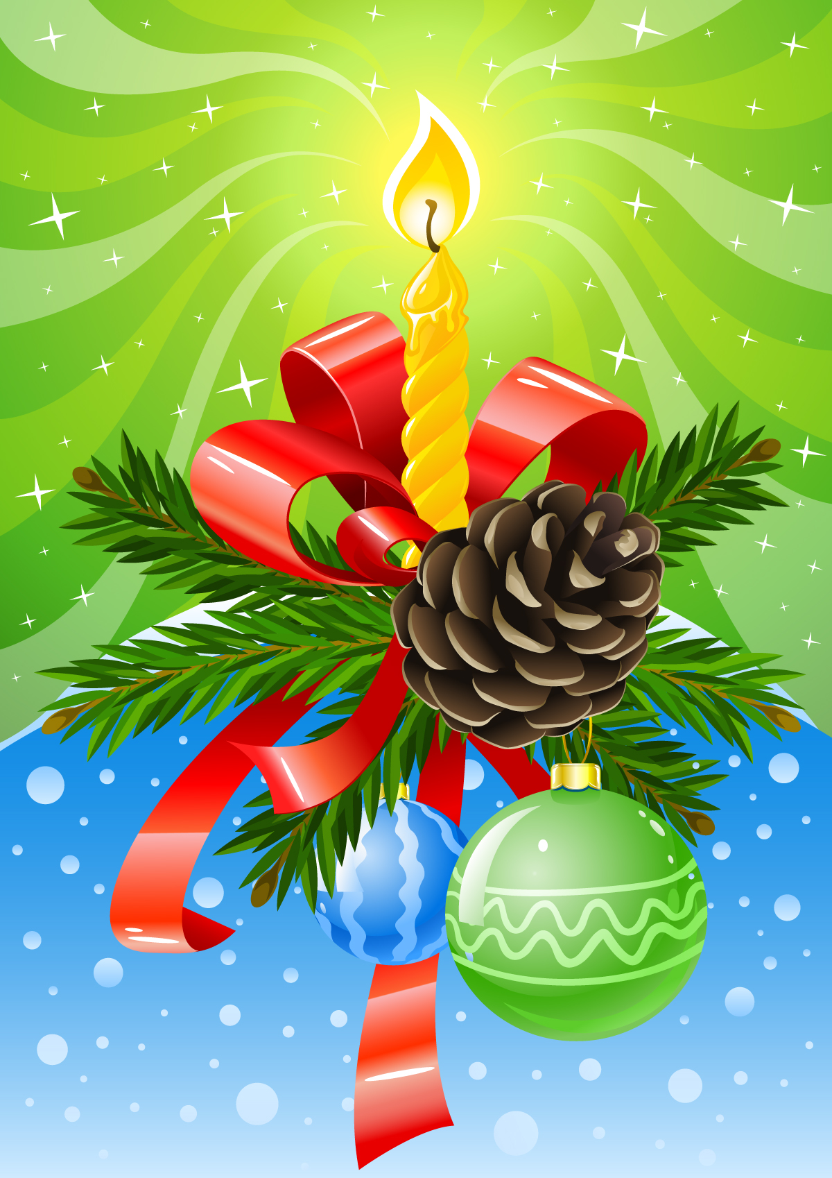 8 Christmas Candles Vector Images
