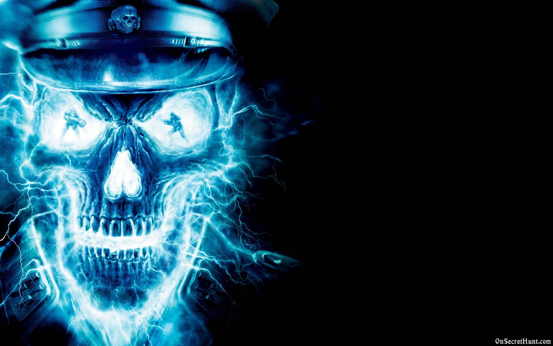 Cool Blue Neon Skull Desktop Background