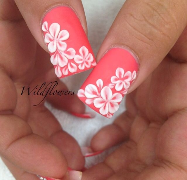 Coral Nails with Hawaiian Flowers