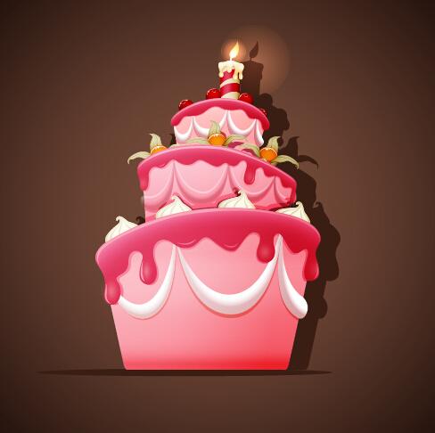 Cute Birthday Cake Vector