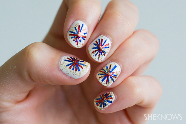 9 4th Of July Firework Nail Art Designs Images