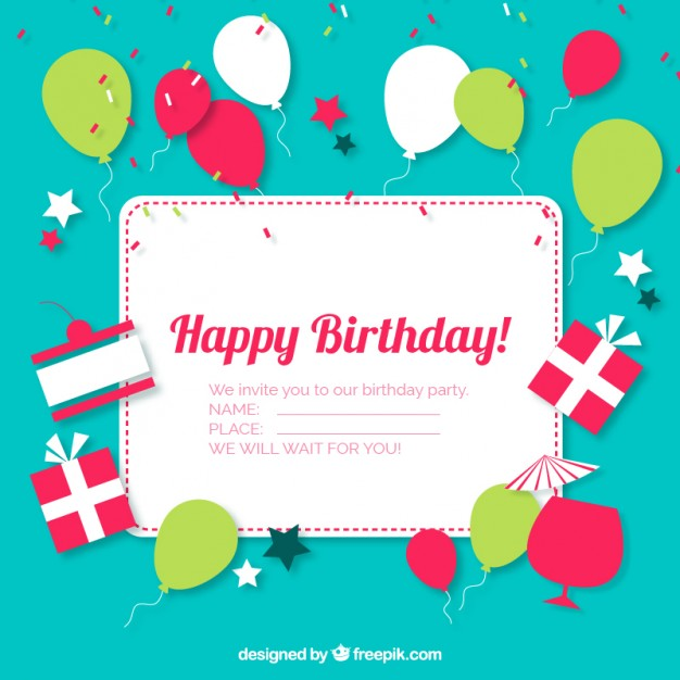 Birthday Invitation Vector Images - Happy Birthday Party Invitations ...